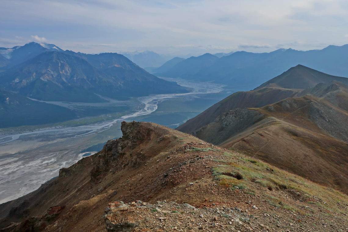 View from the main summit of Sheep Mountain to Slim River which flows into Kluane Lake