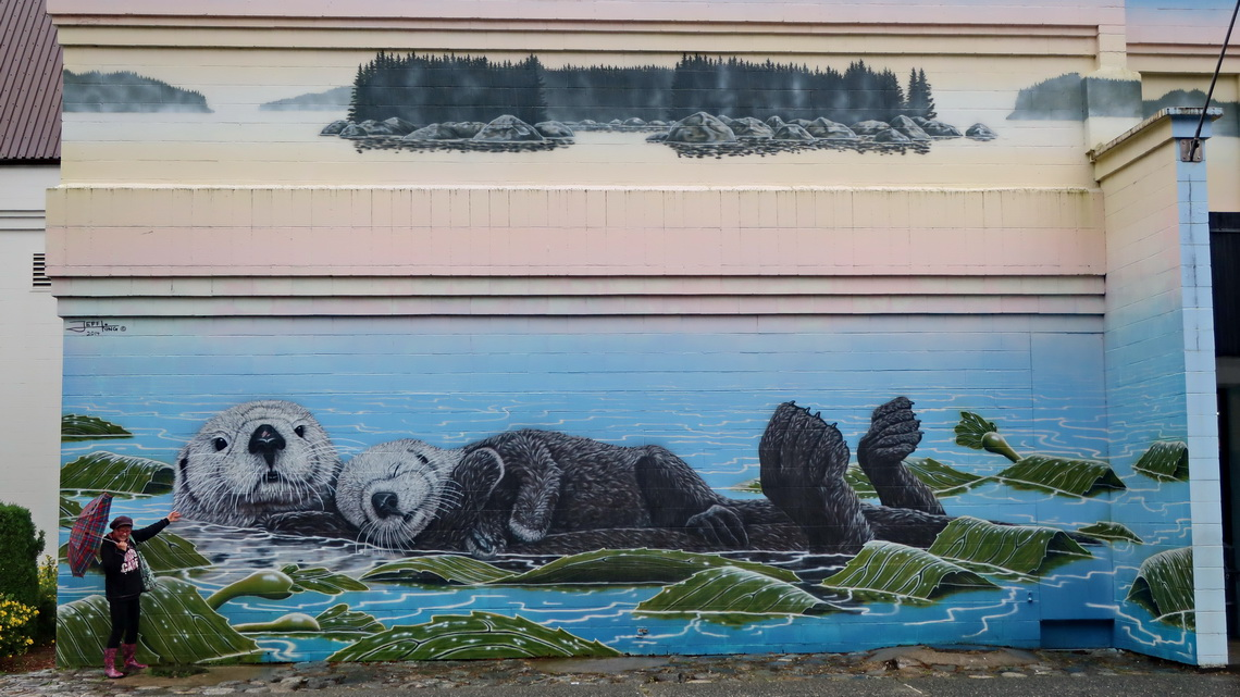 Sea Otters on the wall of the Civic Center