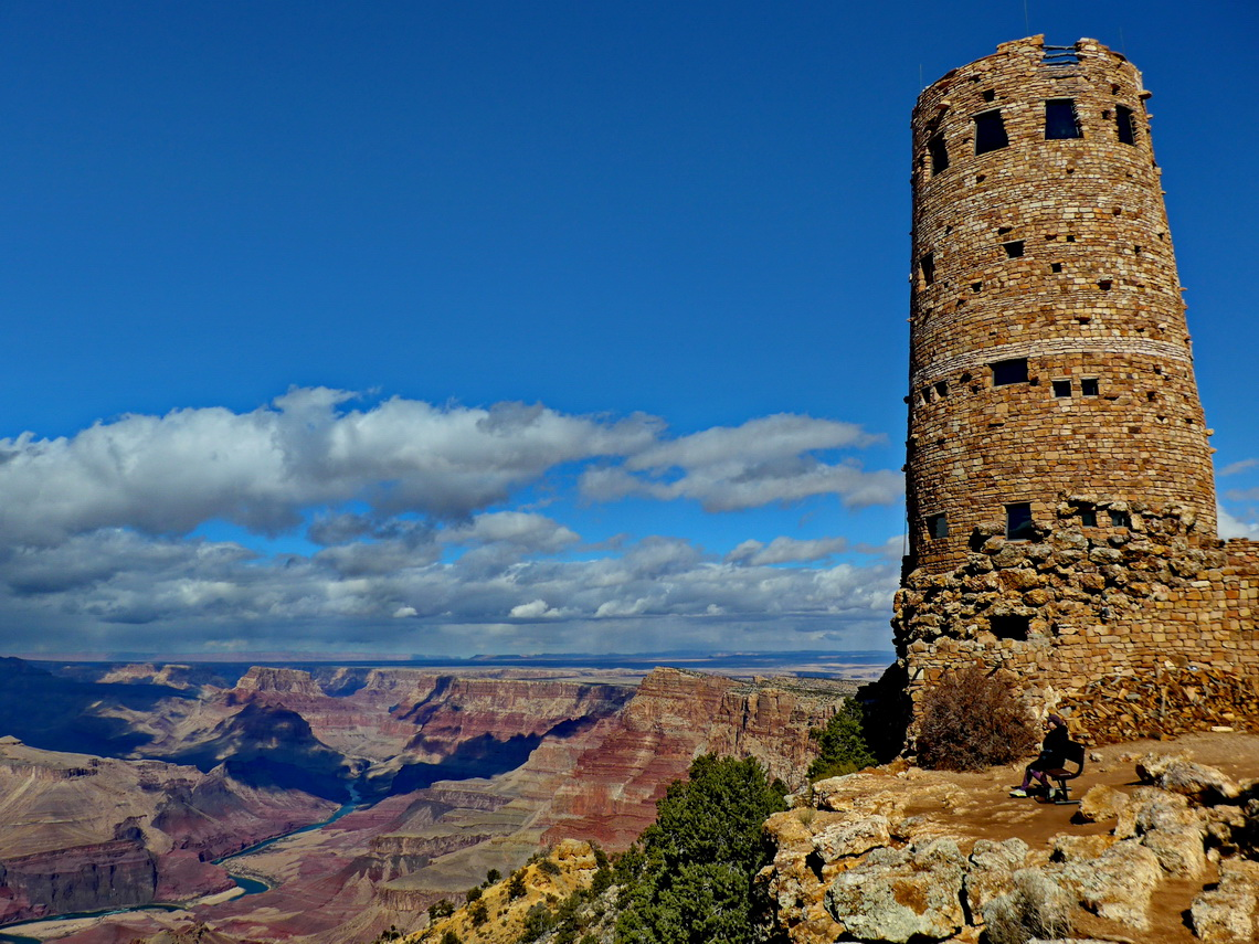 Historic Desert View Tower with Colorado River and eastern Grand Canyon