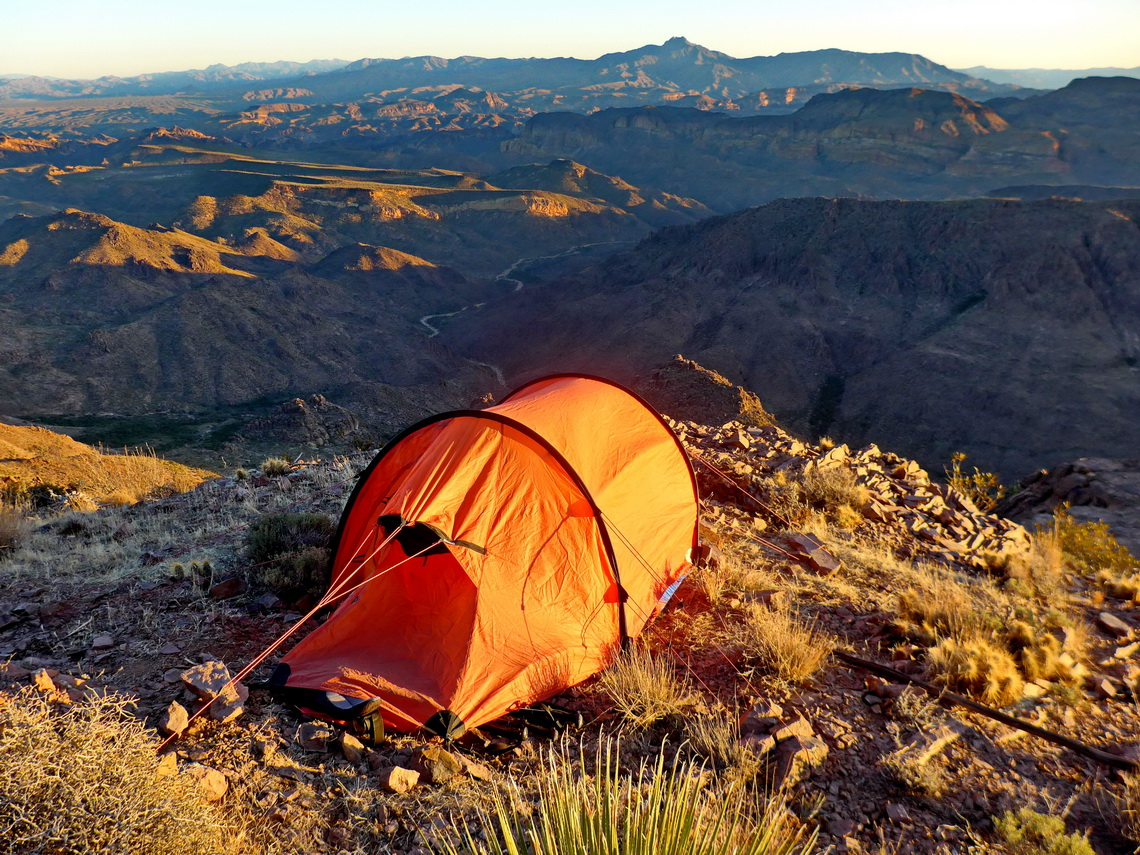 Our tent with Superstition Wilderness at sunrise