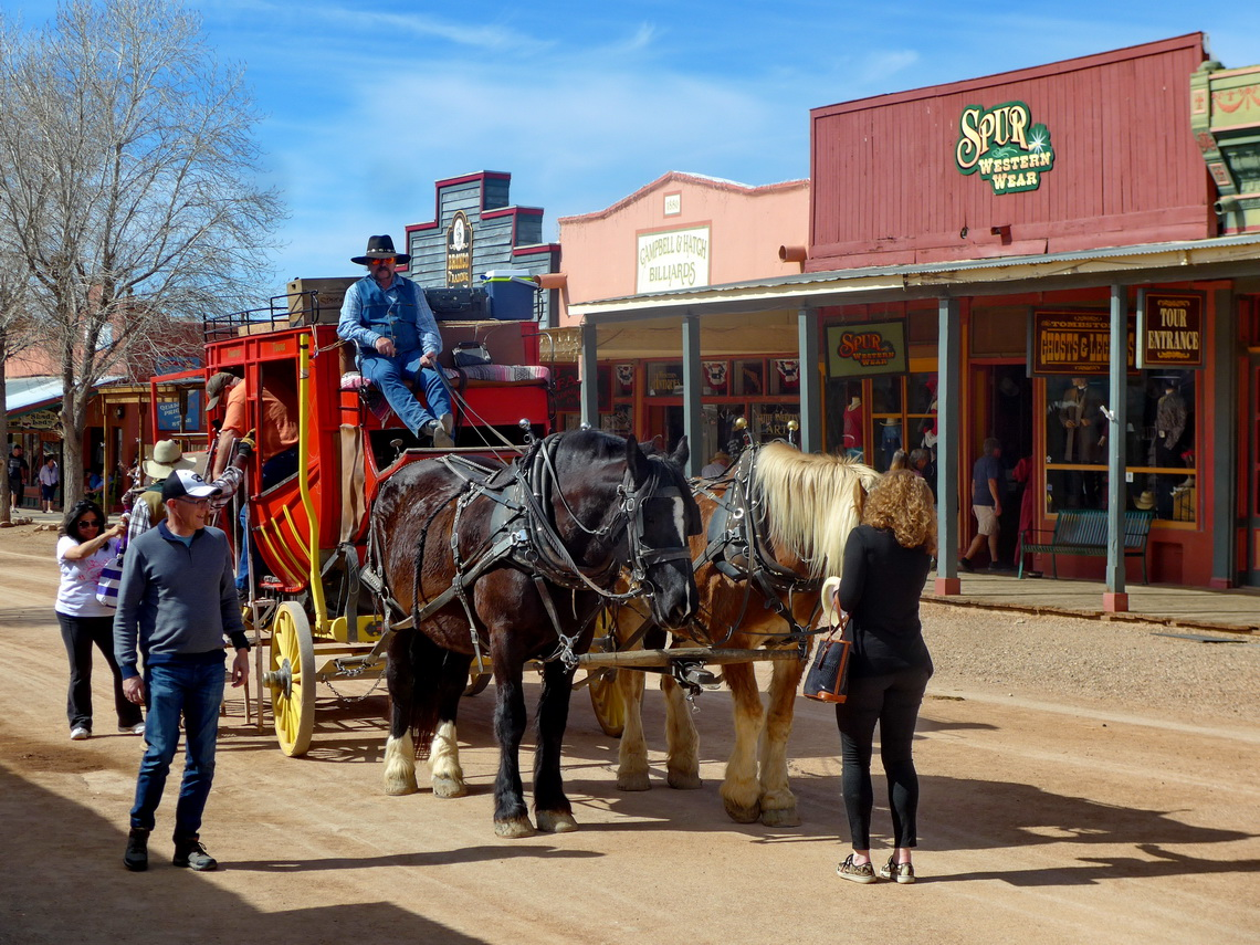 Ancient carriage in the main street of Tombstone