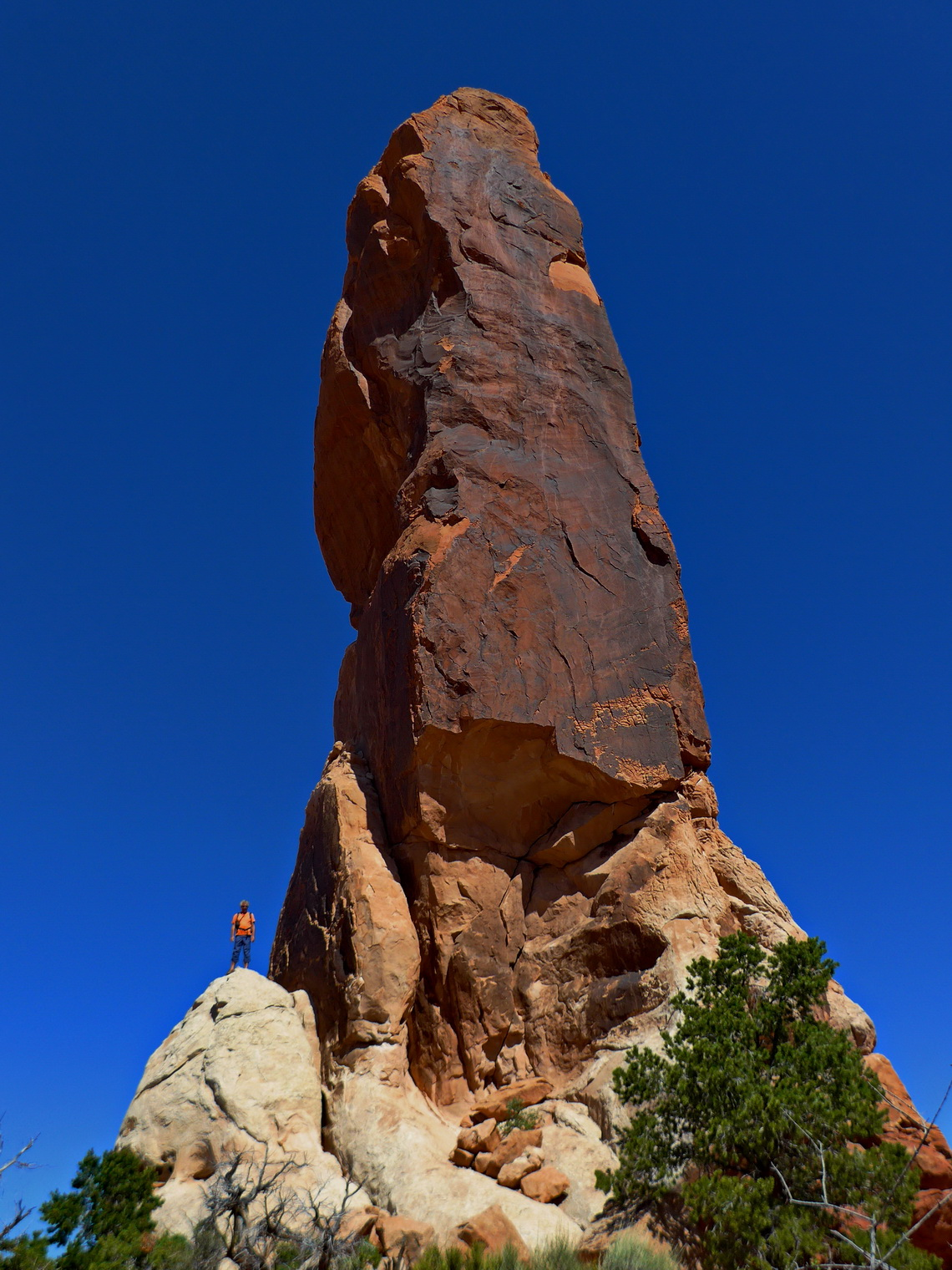 Alfred with 40 meters high sandstone spire Dark Angel on the northern end of Primitive Trail