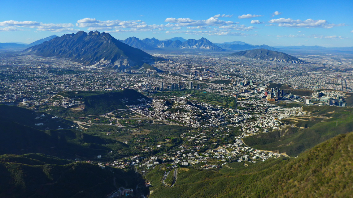Monterrey seen from the ascent to El Pinal