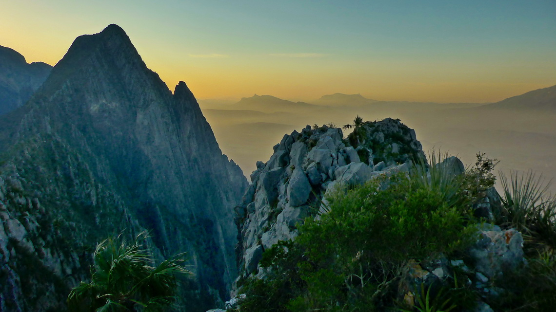 Western view from 1482 meters high Cerro Toro, which is few kilometers northwest of Monterrey