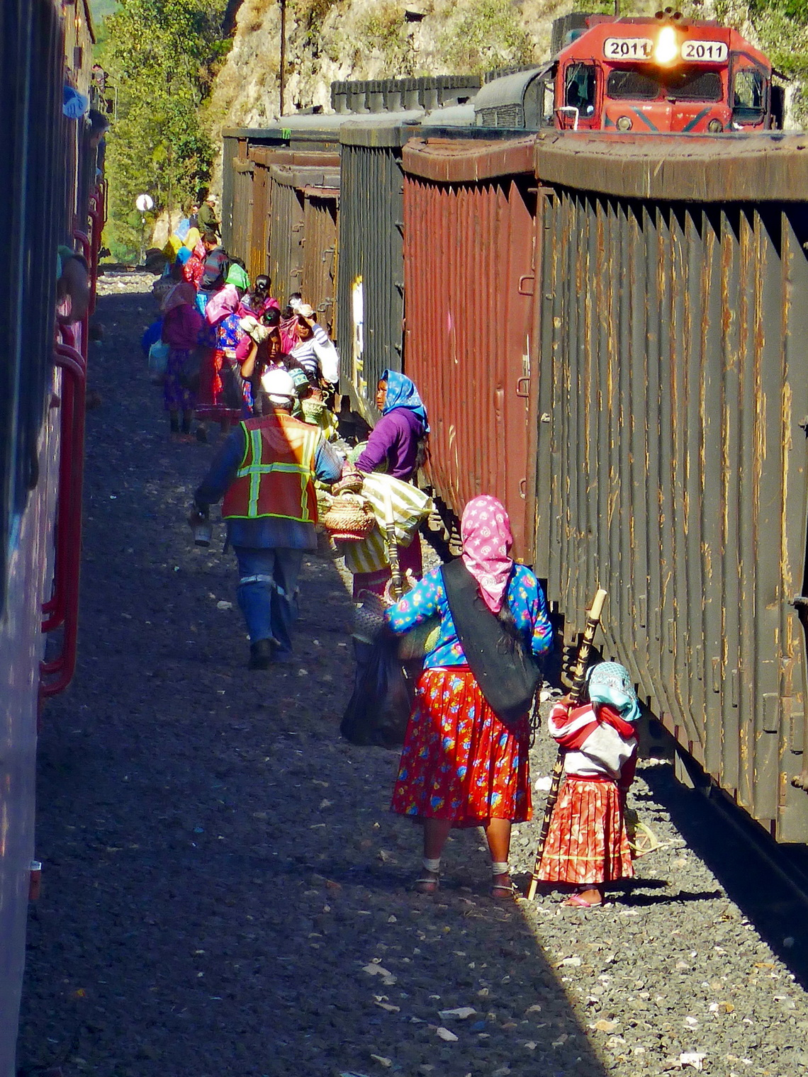 Indigenous Tarahumara people on a little train station