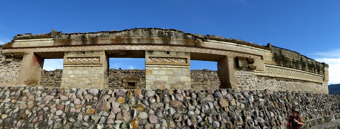 In the ruins of Mitla with its unique stone fretwork