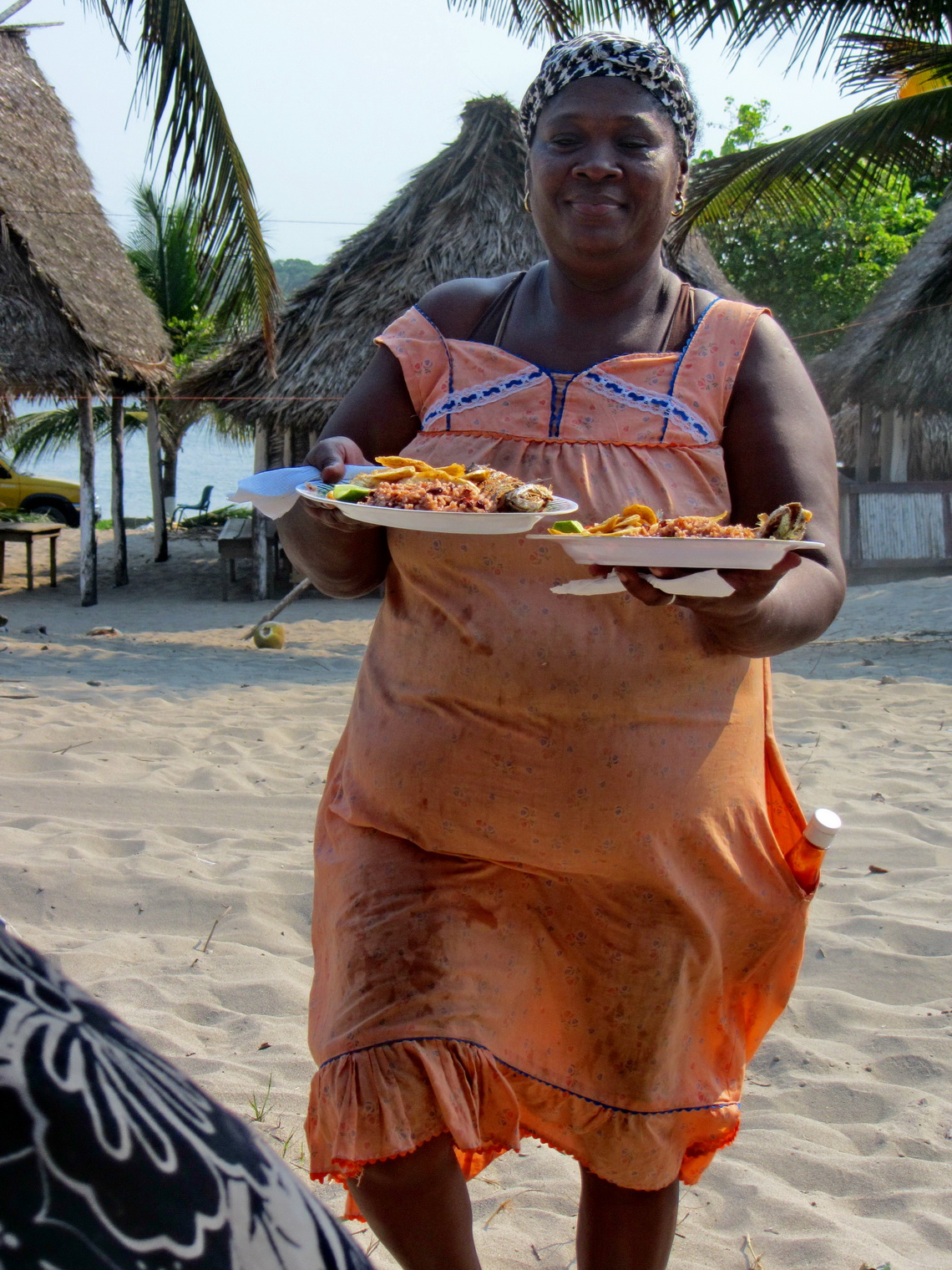 We were hungry like wolves when we came to Miami - African Lady serving us delicious food