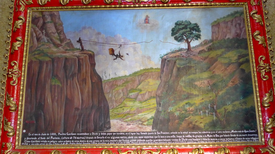 Picture in the church of Baños about the fall of the pastor into a gorge - he survived!