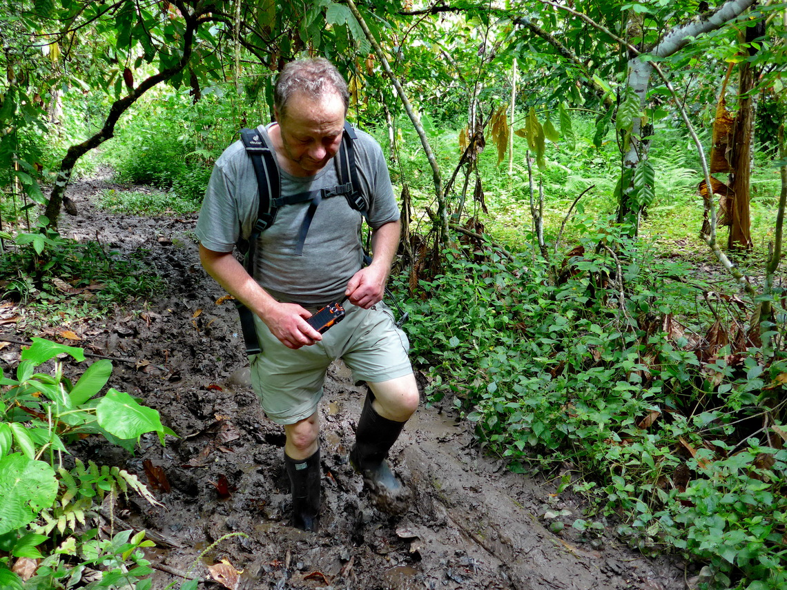 Walking in the mud of the jungle