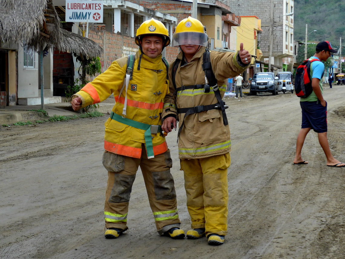 Exercising Firemen in Puerto Lopez