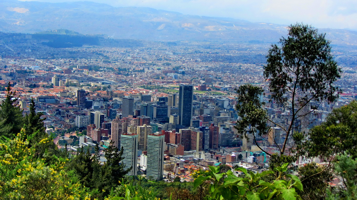 View to Bogota's center from the path to Cerro de Monserrate