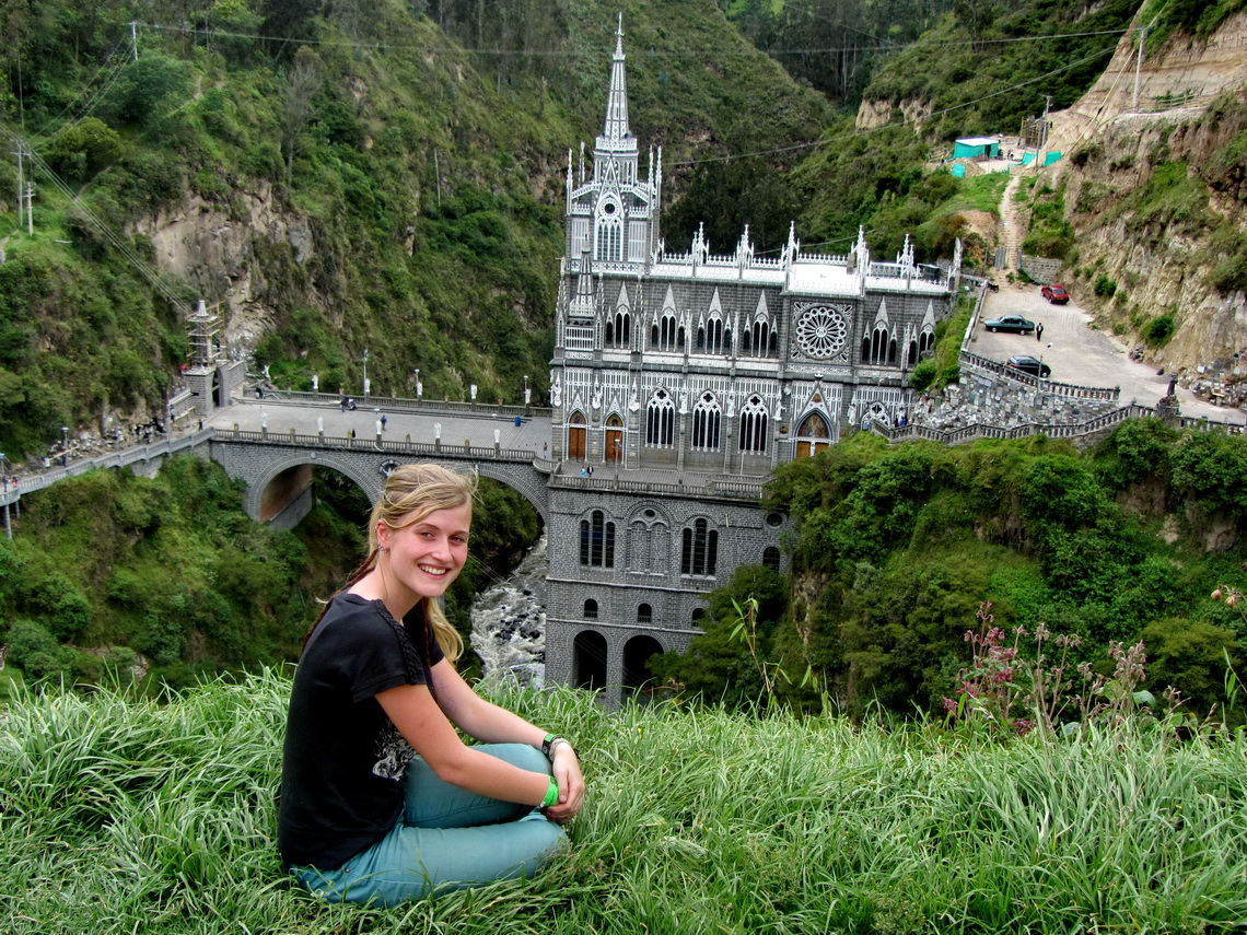 Anna with the monastery Sanctuario de Las Lajas