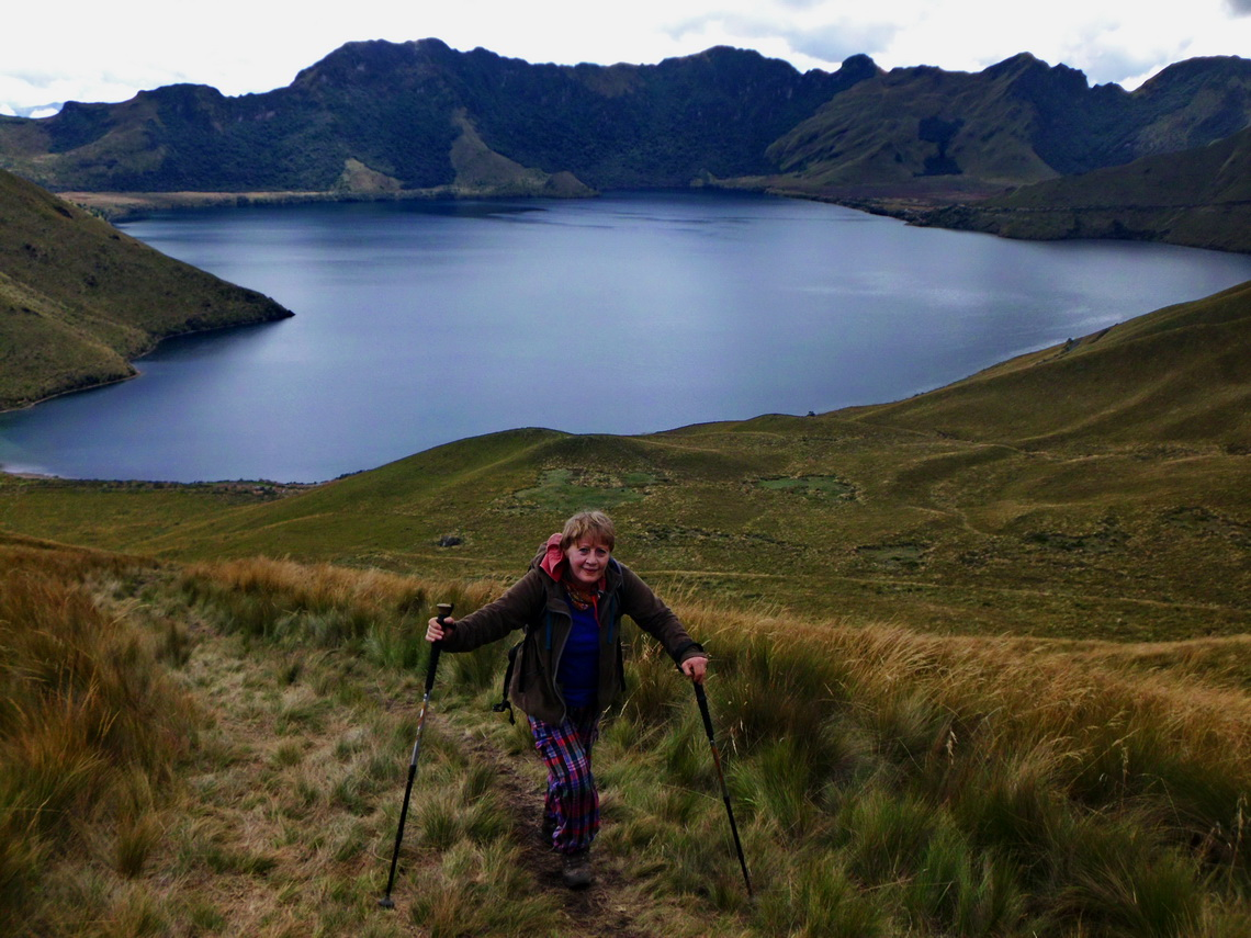 Hiking to Pico Fuya Fuya with Laguna de Mojanda in the background