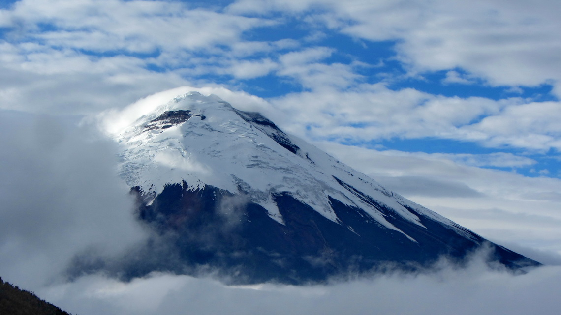 Icy Cotopaxi seen from the ridge