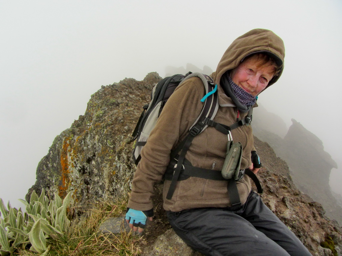 Marion on top of the central peak of Volcan Rumiñahui
