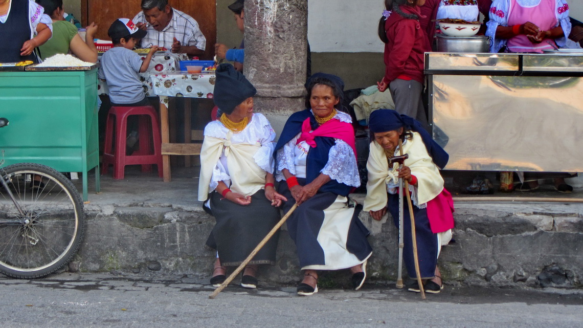 Three elderly Ladies on the main square of Cotacachi