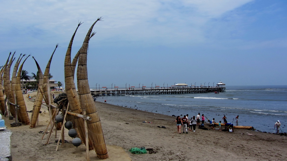 Reed boats on the beach of Huanchaco
