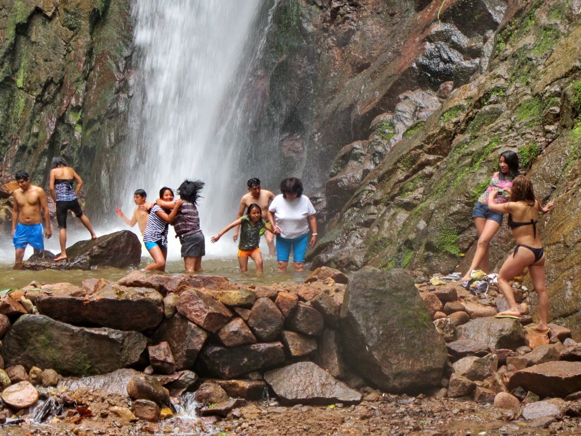 Enjoying the cold water of the Cataratas El Tirol