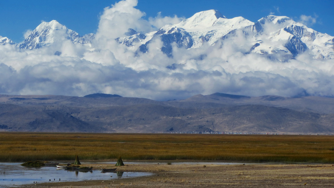 Illampu and Ancohuma seen from lake Lago Titicaca