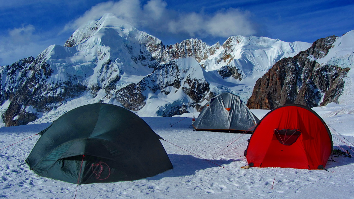 Our high camp on Ancohuma with Illampu in the background