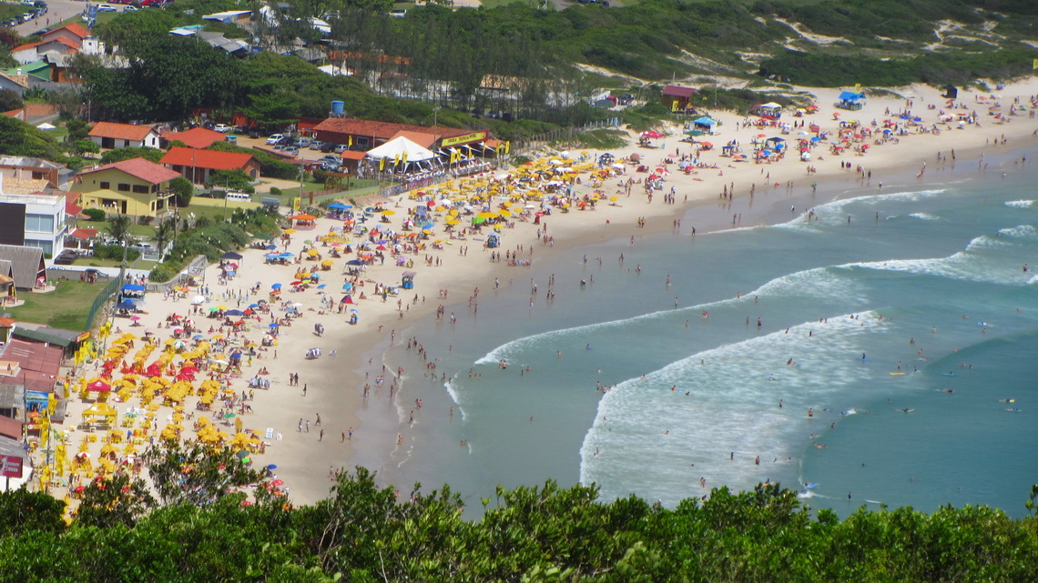Busy beach of Barra da Lagoa