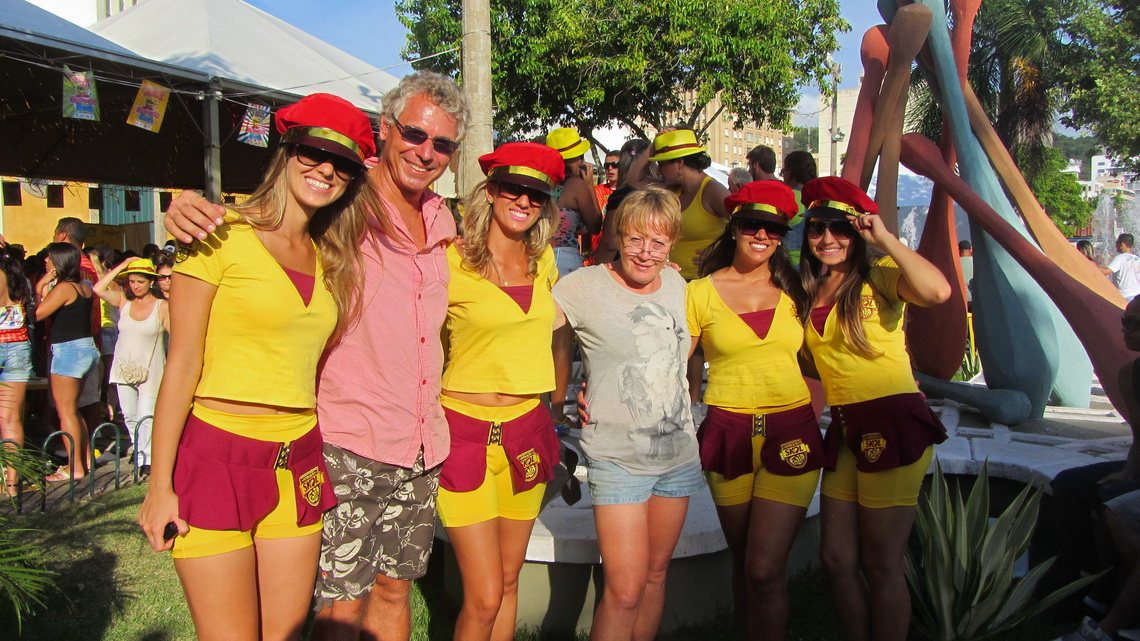Marion and Alfred with four Skol girls, our favorite beer in Brazil
