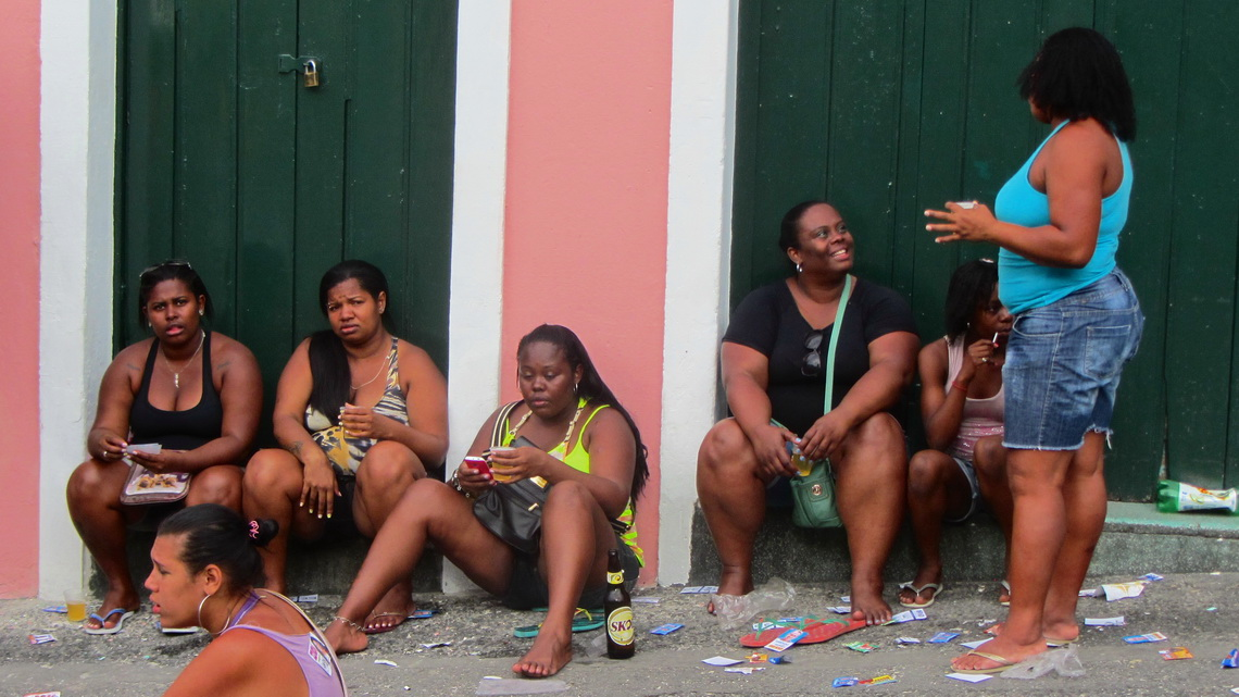 Strong Afro Brazilian Ladies with some beer and many slips of the election today