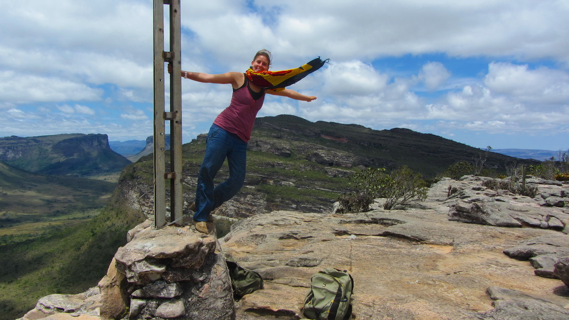 Flying Carina on the summit of Morro do Pai Inacio