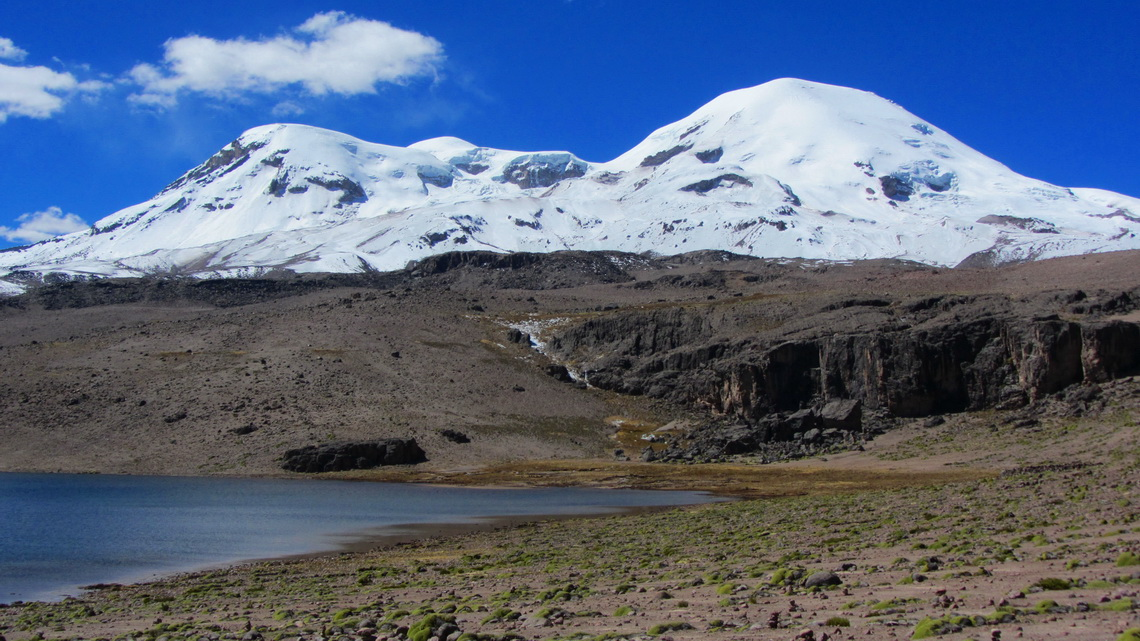 Laguna Pallacocho with the main summit of Nevado Coropuna on the right, 6425 meters sea-level
