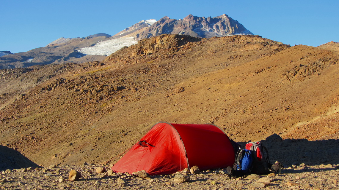 Our second camp with Volcan Tinguiririca in the left background