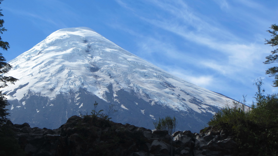 Volcan Osorno seen from Rio Petrohue
