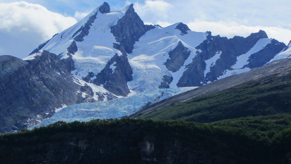2050 meters high Cerro Creston with Glaciar Huemul