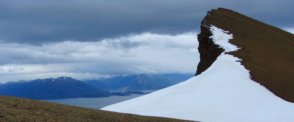 Northern summit of Monte Tarn with the Strait of Magellan