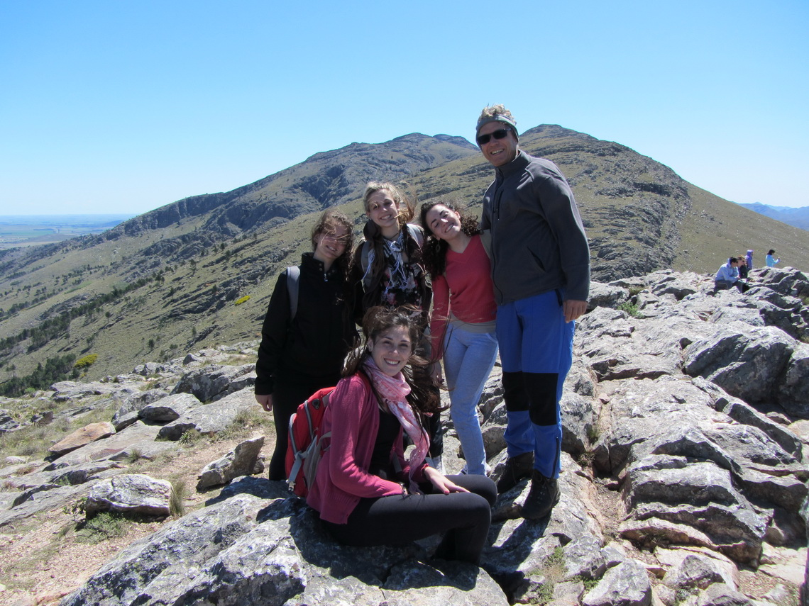 Summit of Cerro Bahia Blanca - Alfred with some Argentine Girls