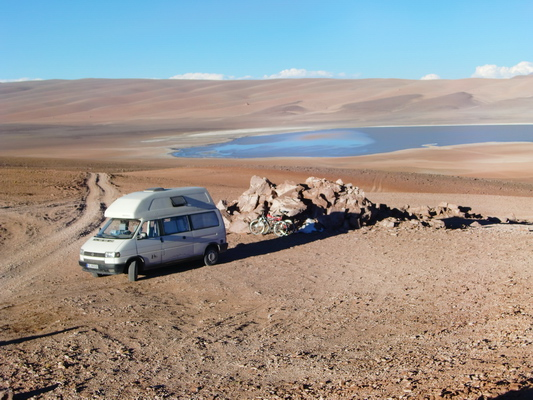 Our campground of the 2nd night with Laguna Lejia in the background