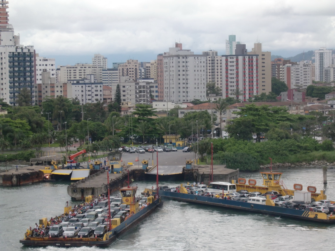 Ferries crossing the channel of Santos