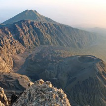 Western crater rim of Mount Meru with its ashcone and Little Meru in the back