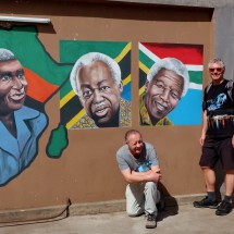 African politicians on the wall - Julius Nyerere (center) and Nelson Mandela (right)
