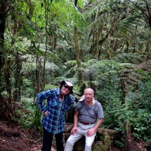 Marion and Tommy in the jungle between Machame gate and camp on foot of Kilimanjaro
