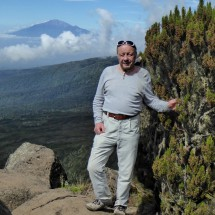 Tommy with Mount Meru on the left
