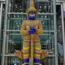 Virulhok on the airport. He is a giant with a dark blue body and was the ruler of the subterranean world in the Thai mythology