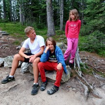 Little bit tired kids, after hiking approximately 10 kilometers from 1740 to 2270 meters sea-level