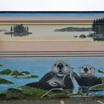 Sea Otters on the wall of the Civic Center of Prince Rupert