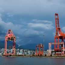 Container port with North Vancouver in the back