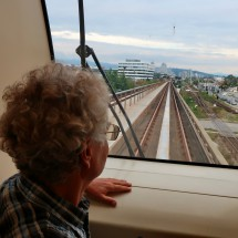 Alfred on the front seat in Vancouver's skytrain which operates without drivers