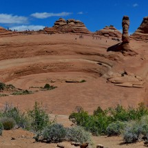 The bowl with Delicate Arch from the side (top right with shadow)