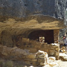Marion with a cliff dwelling