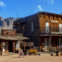 Buildings in the Goldfield Ghost Town with Superstition Mountains