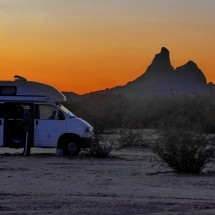 Picacho Peak with our motor-home on Park Link Dr Boondock