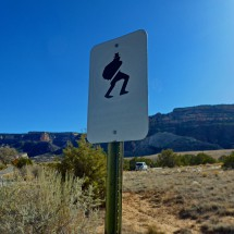 Interesting sign on th street to the trailhead of the Corkscrew Trail in the Colorado National Monument